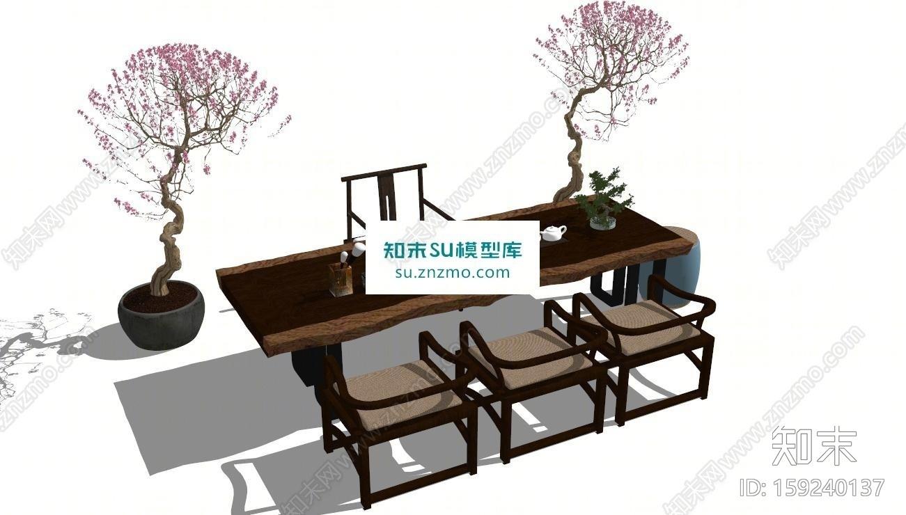 中式书桌茶桌SU模型下载【ID:159240137】