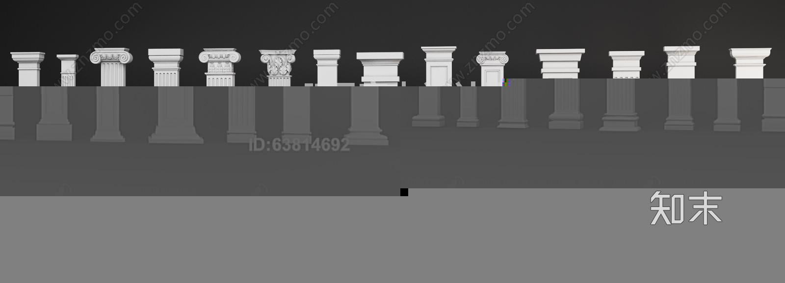 欧式柱子 石膏罗马柱 欧式柱3d模型下载【id:63814692】