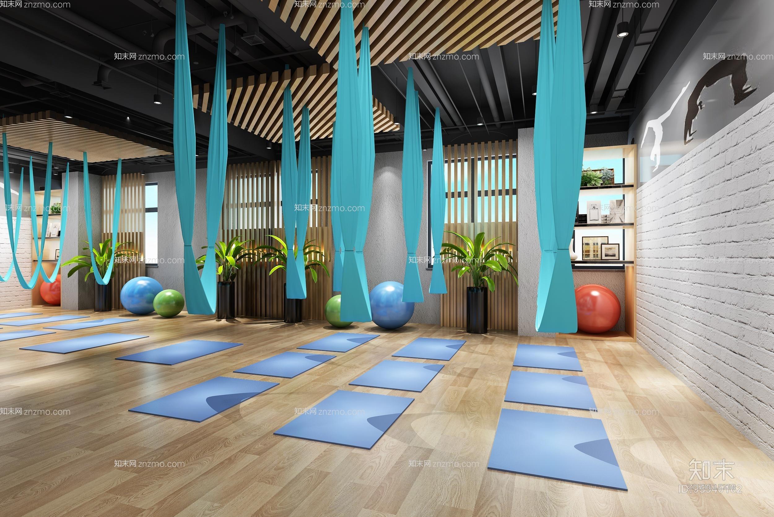 现代风格瑜伽室3d模型下载【id:95940162】图片
