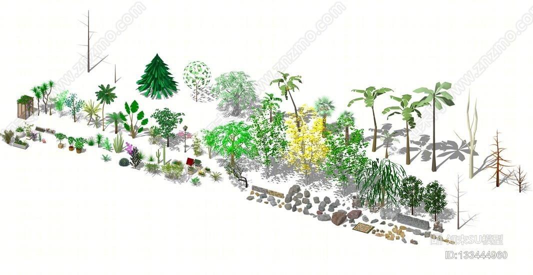 3D植物石头组合SU模型