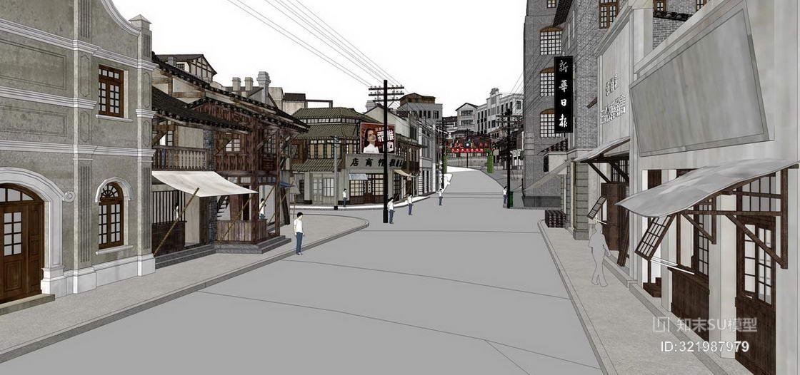 电影1942场景模拟民国商业街SU模型
