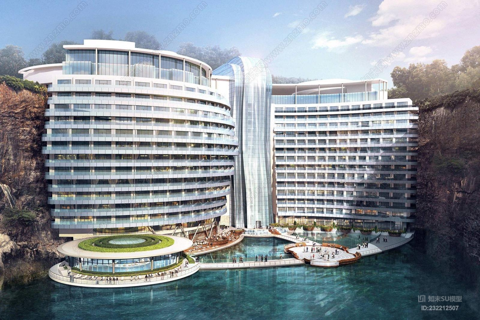 上海世茂深坑洲际酒店 含效果图su模型 施工图 平面彩图 考察实景大厦 建筑