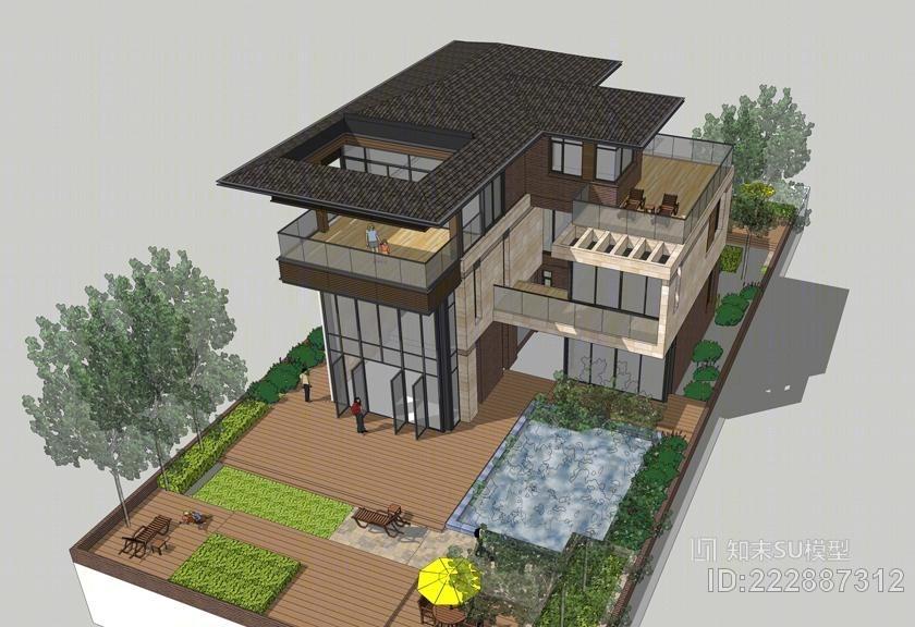 现代中式独栋别墅SU模型