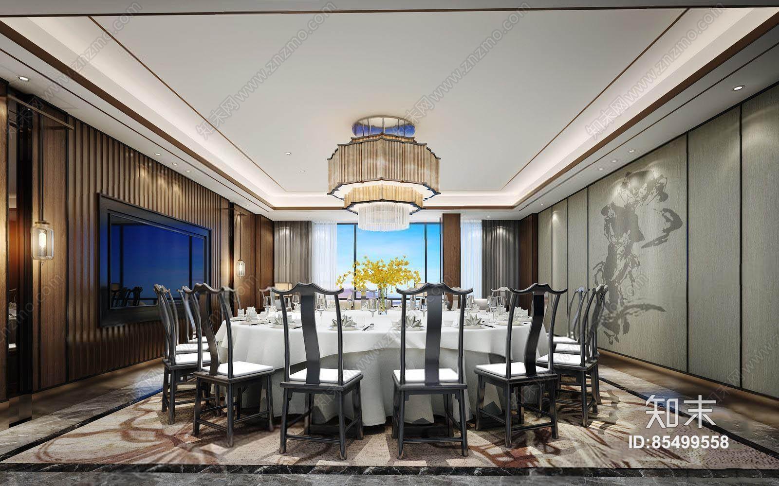 新中式包厢 新中式餐饮 餐厅 包厢 吊灯 圆餐桌 新中式椅子 背景墙