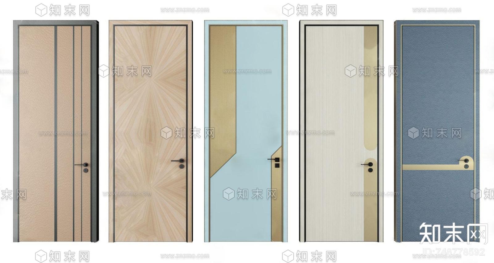 现代实木单开门3d模型3D模型下载【ID:748778592】