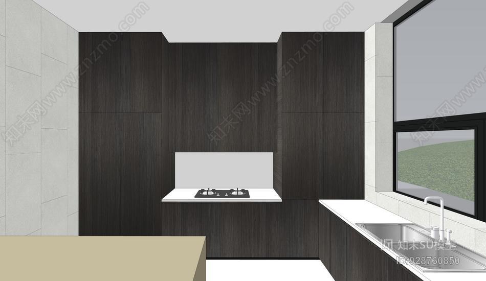 新中式别墅一层客厅餐厅书房厨房室内设计SU模型