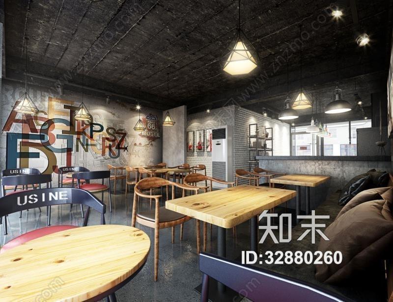 工业咖啡厅奶茶店3D模型下载【ID:32880260】