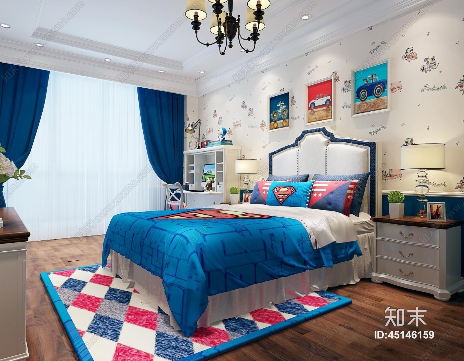 欧式简约男孩儿童房 双人床 壁纸 台灯 吊灯 挂画 床头柜