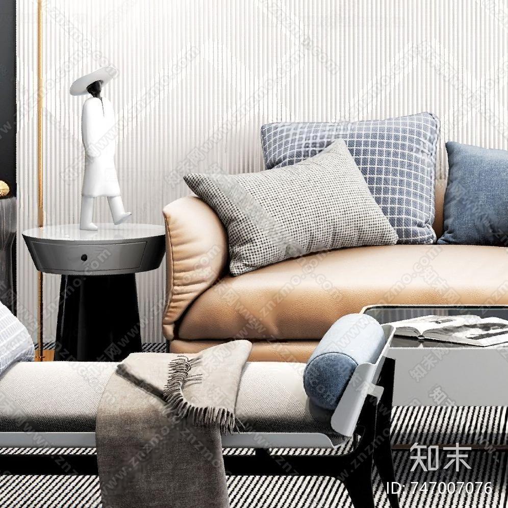 现代沙发茶几组合3D模型下载【ID:747007076】