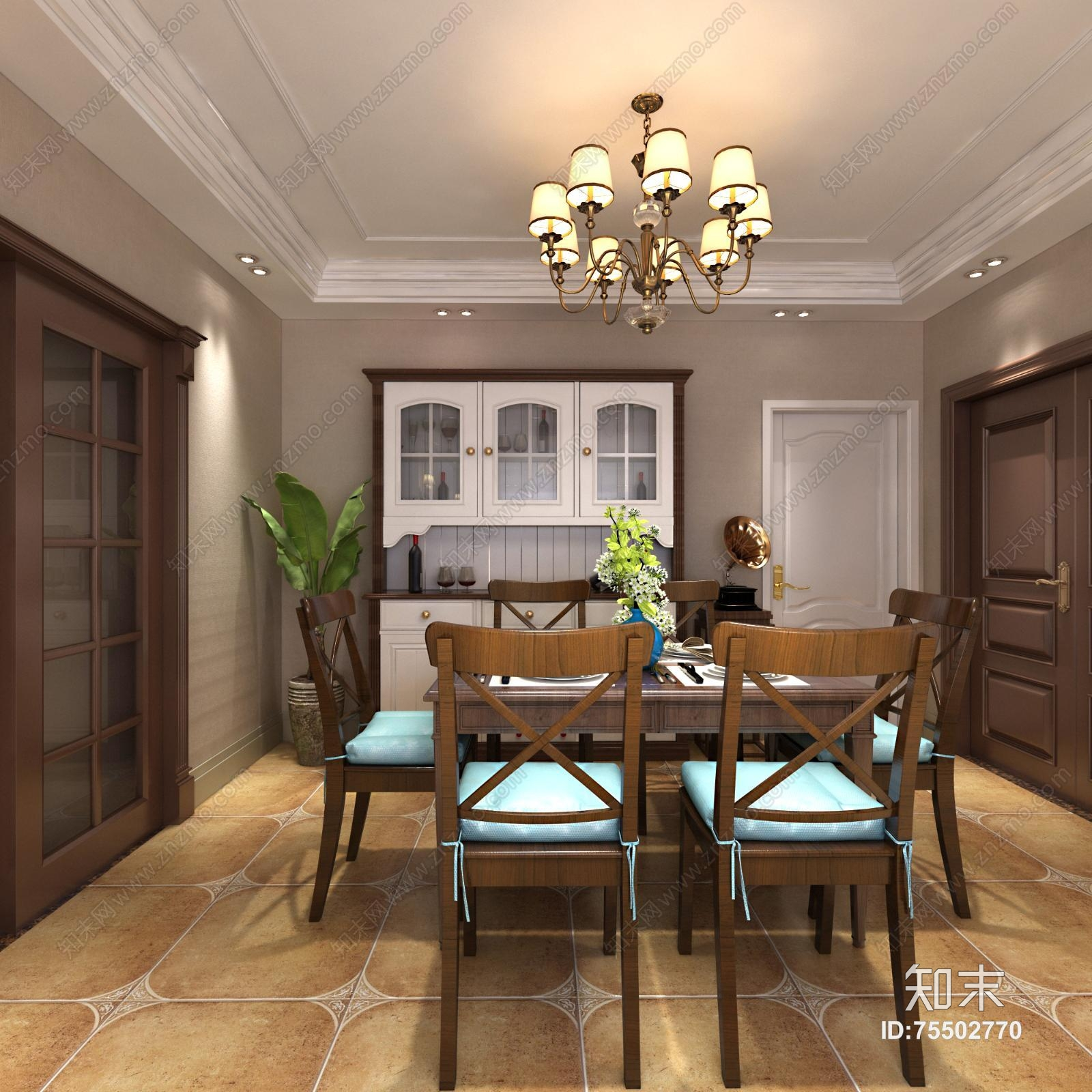美式客餐厅 吊灯 沙发茶几 休闲椅 橱柜 盆栽 电视柜 摆件图片