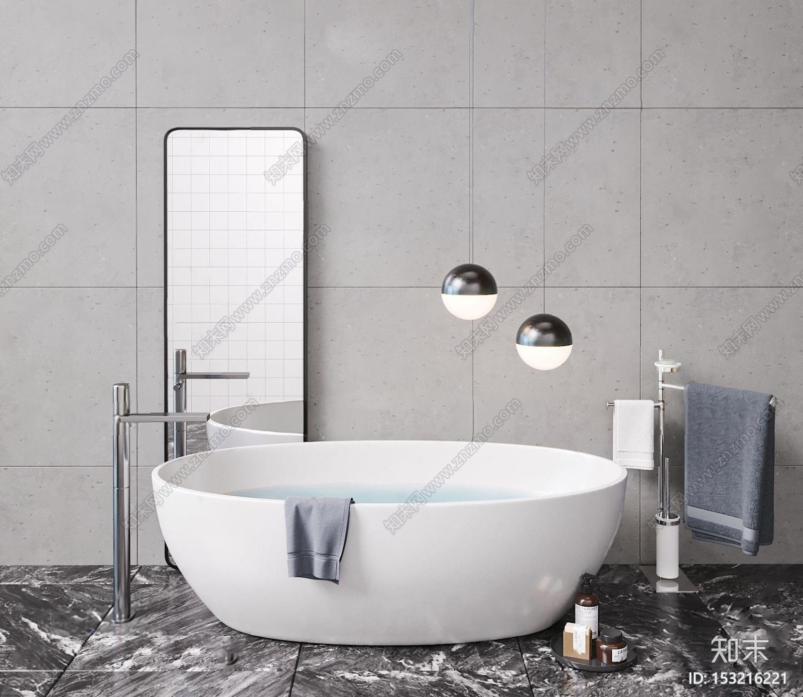 现代简易浴缸3d模型3D模型下载【ID:153216221】