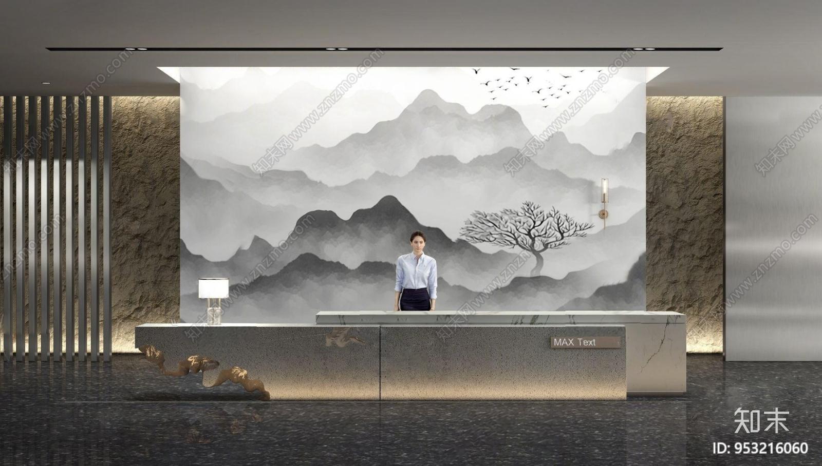 新中式售楼处前厅前台3d模型3D模型下载【ID:953216060】
