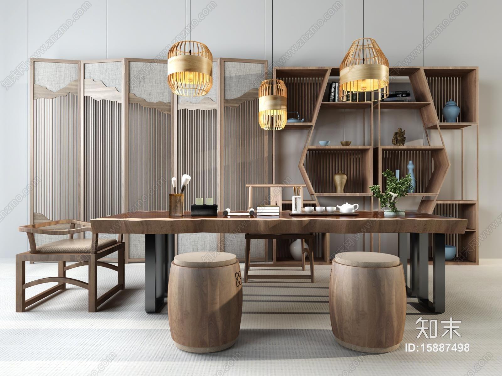 中式书房 书桌组合 隔断 书柜 吊灯