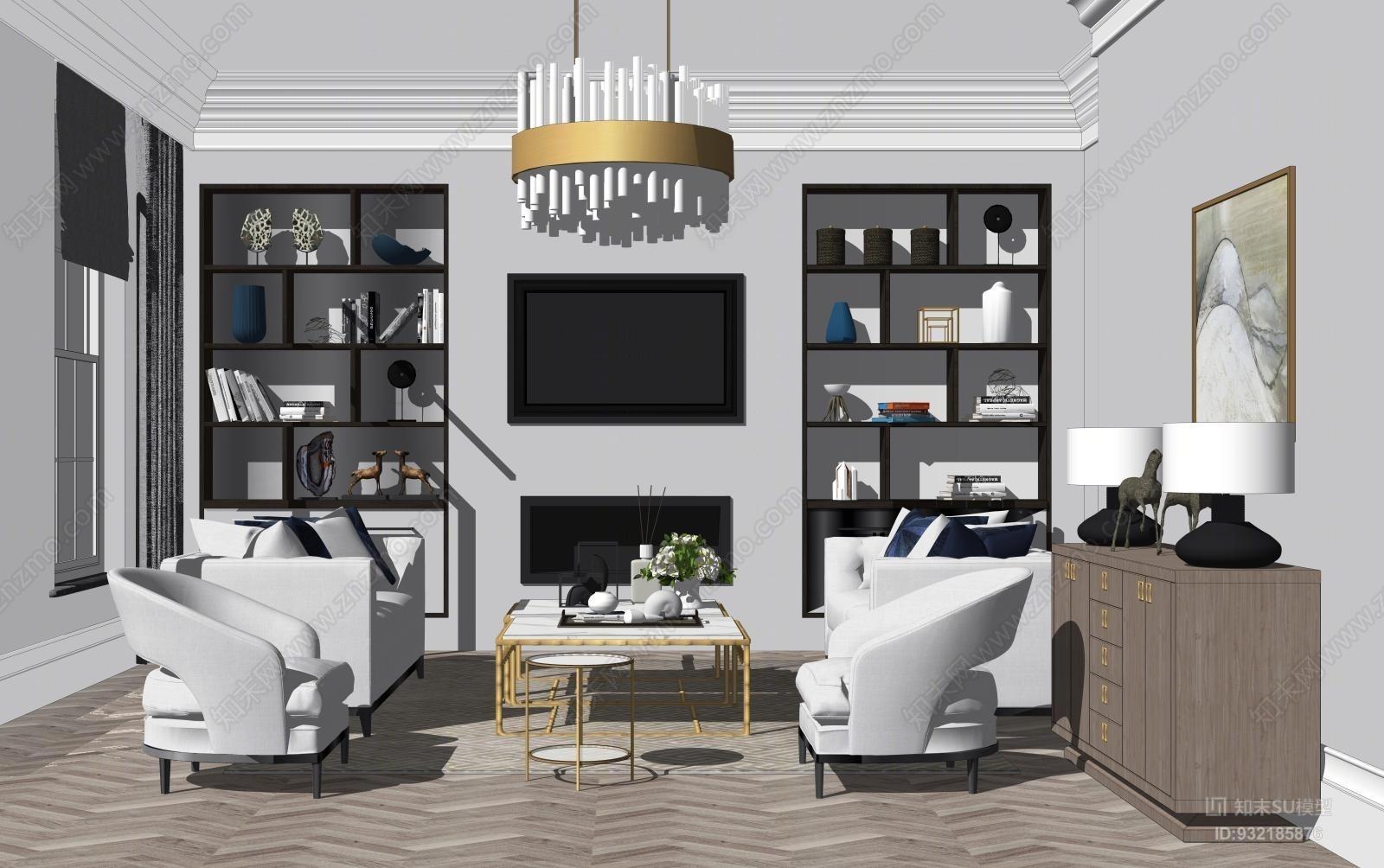 现代轻奢客厅SU模型