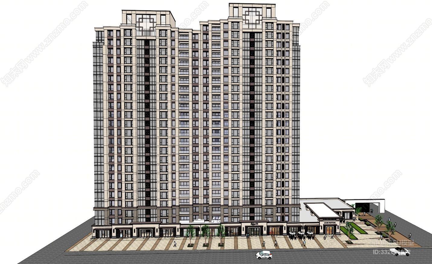 欧式风格沿街底层商业高层住宅建筑SU模型
