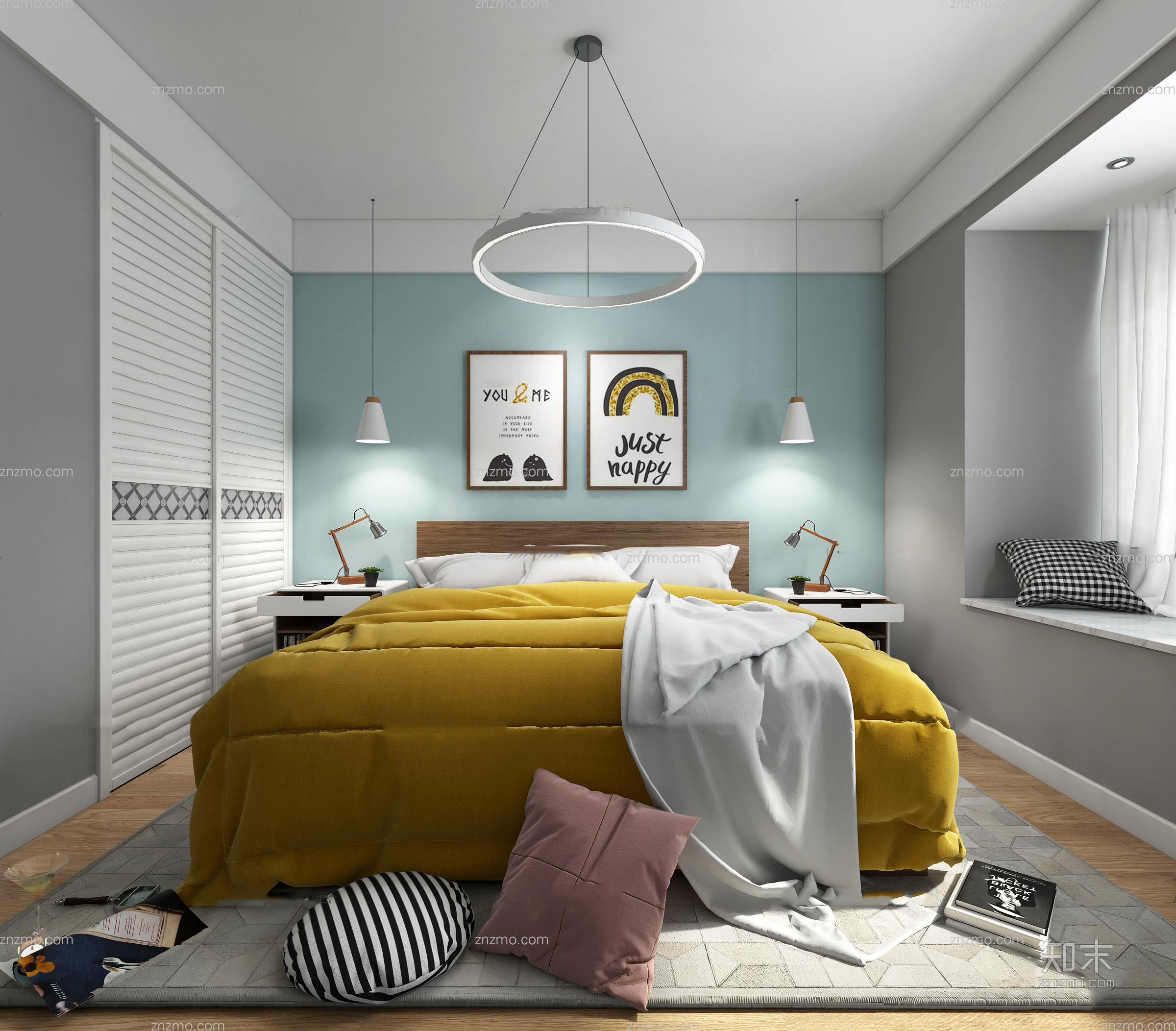 北欧卧室 双人床 吊灯 挂画 抱枕 床头柜 台灯