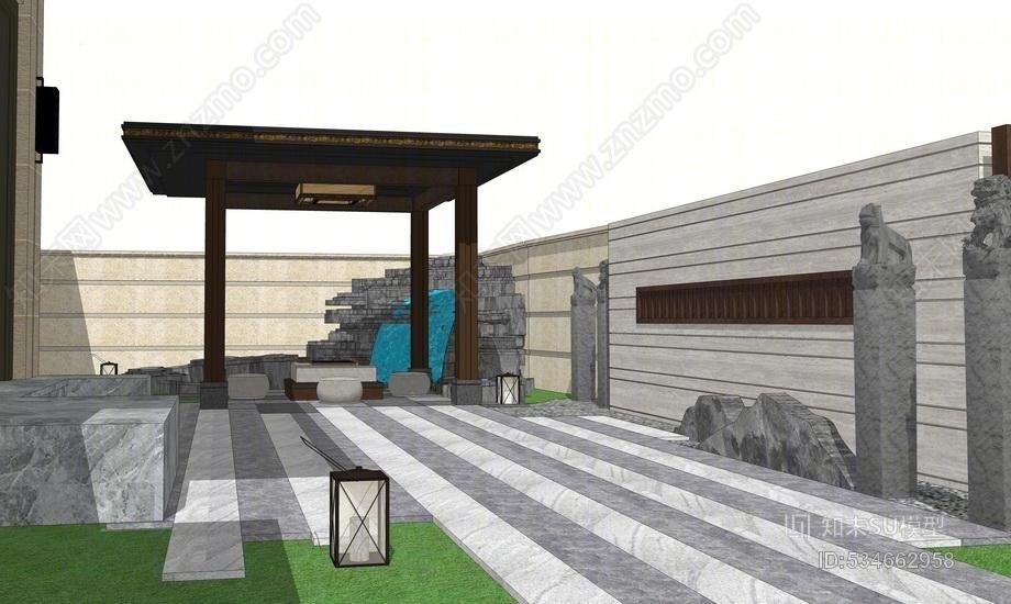 中式庭院景观SU模型SU模型下载【ID:534662958】