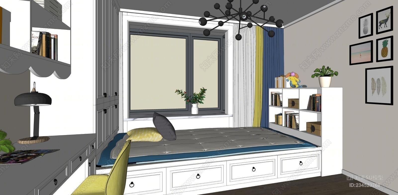 现代北欧榻榻米儿童房卧室