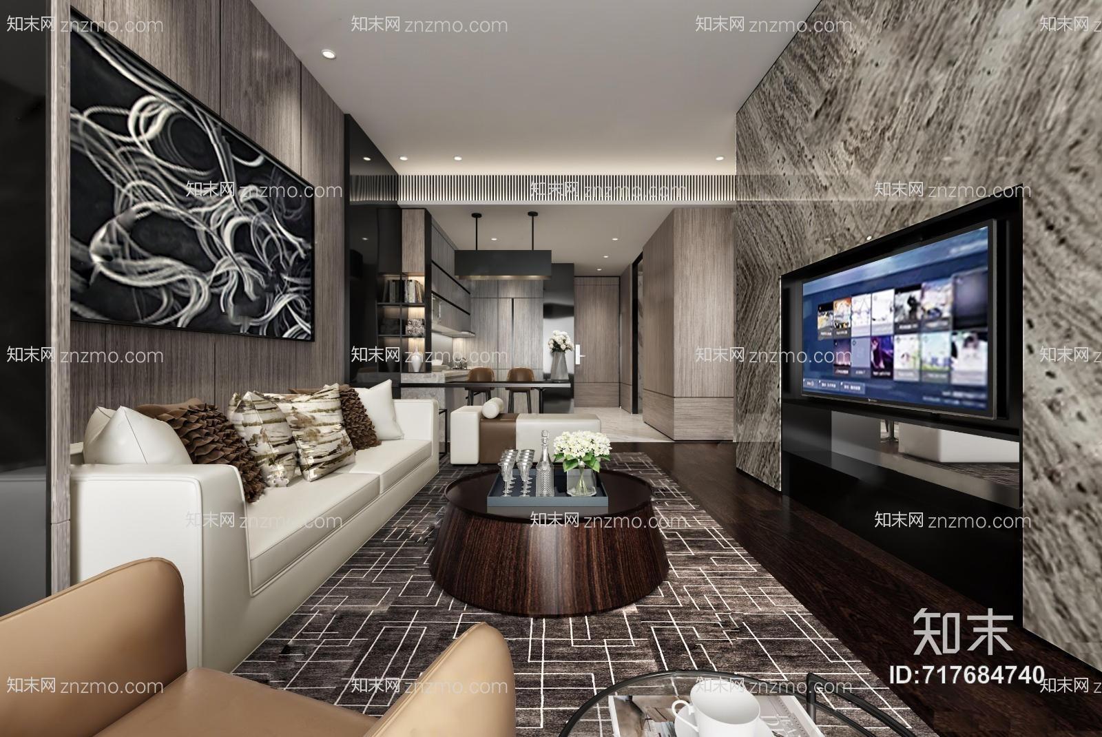 后现代客厅 吊灯 多人沙发 单人沙发 挂画 置物架 摆件 抱枕