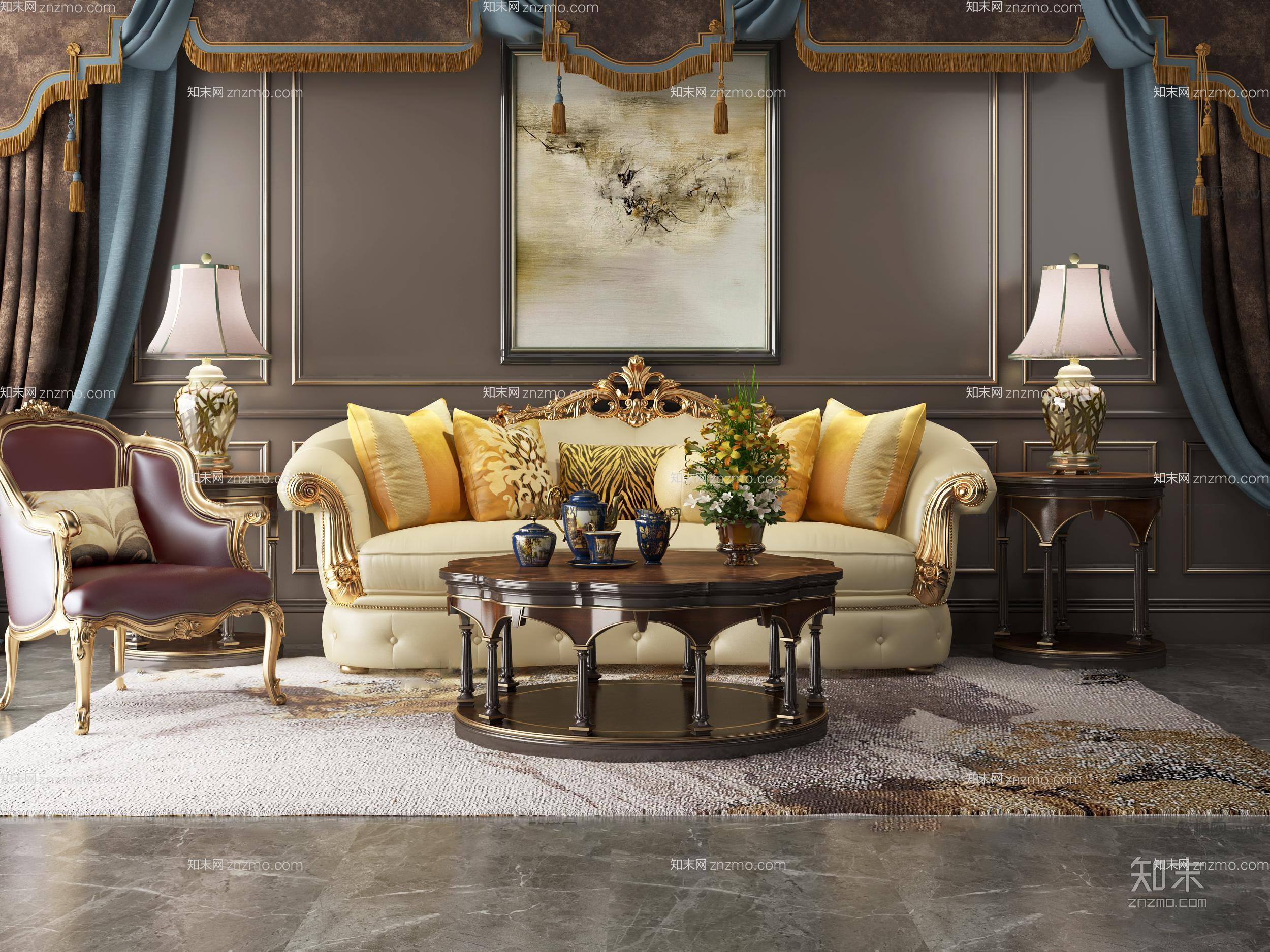 欧式奢华沙发茶几组合 单人沙发 台灯 挂画 茶具