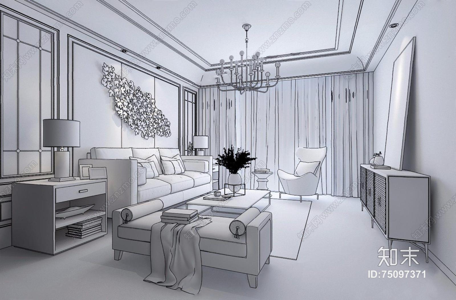 现代客厅 现代客厅 现代沙发 茶几 边几 电视柜 吊灯 墙饰