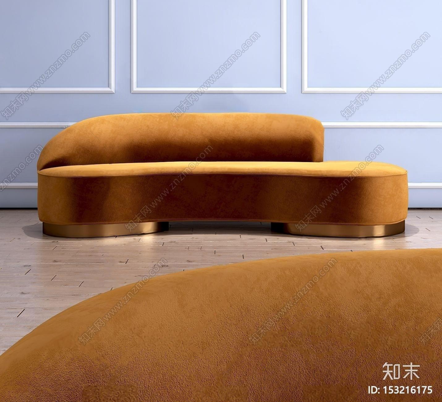 现代布艺弧形沙发3d模型