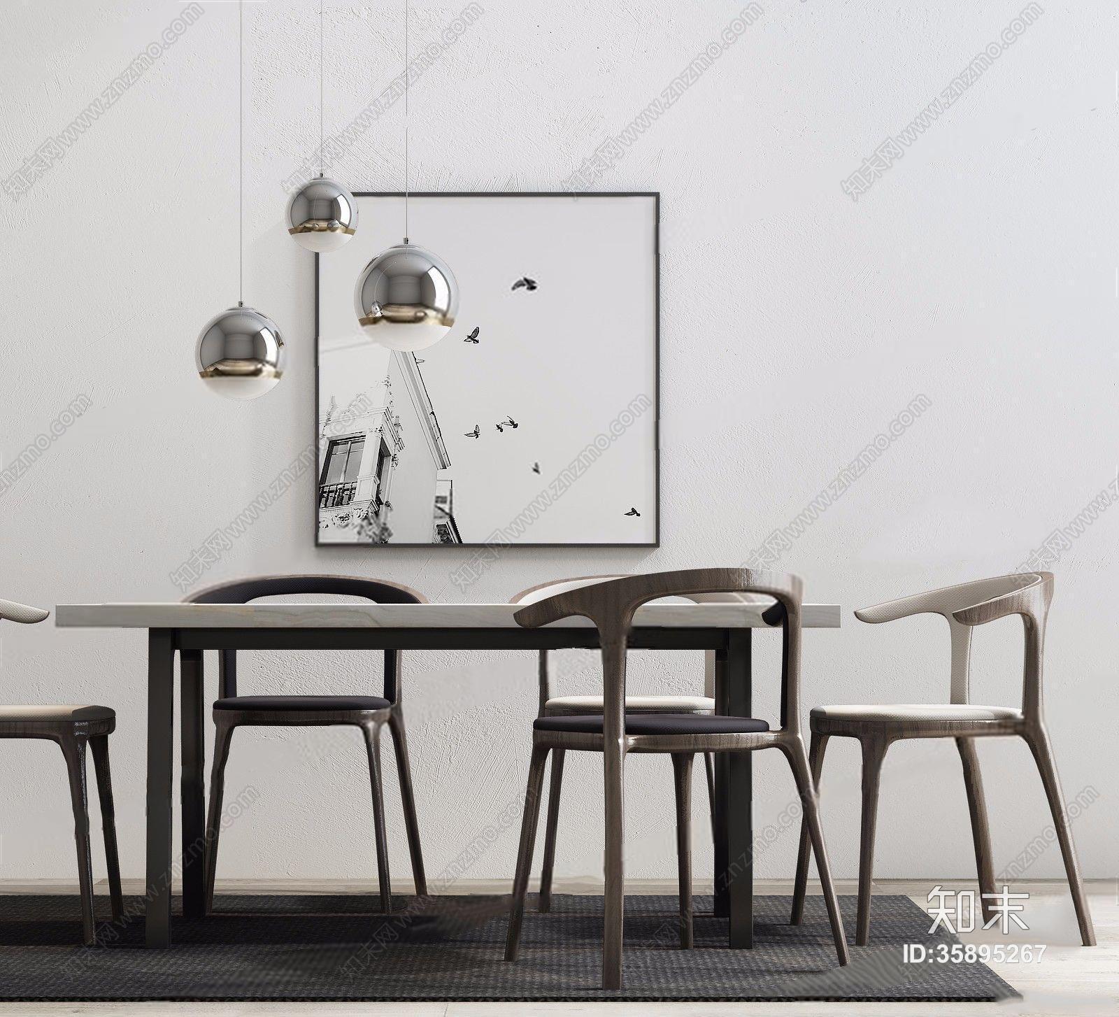 新中式餐桌椅组合 新中式餐桌椅 长桌子 单椅 餐椅 吊灯 挂画