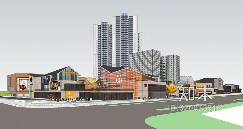 新中式商业综合体新中式商业街SU模型