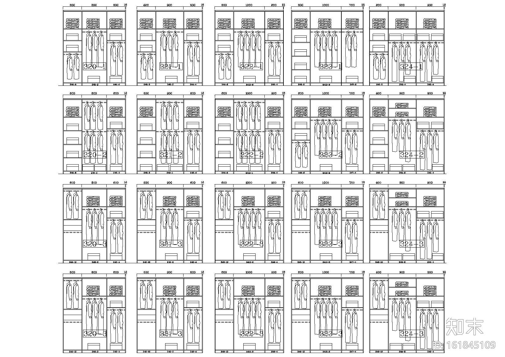230款-成品衣柜模块及组合样式图例施工图下载【ID:161845109】