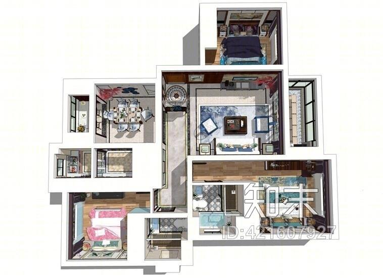 新中式三房两厅室内设计SU模型