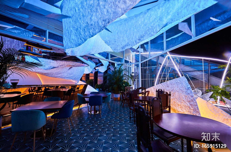 多种颜色灯光主题餐厅设计官方摄影+JPG平面施工图下载【ID:165915129】