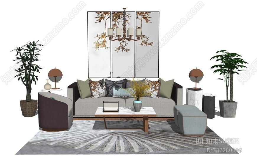 新中式客厅沙发茶几盆栽组合SU模型
