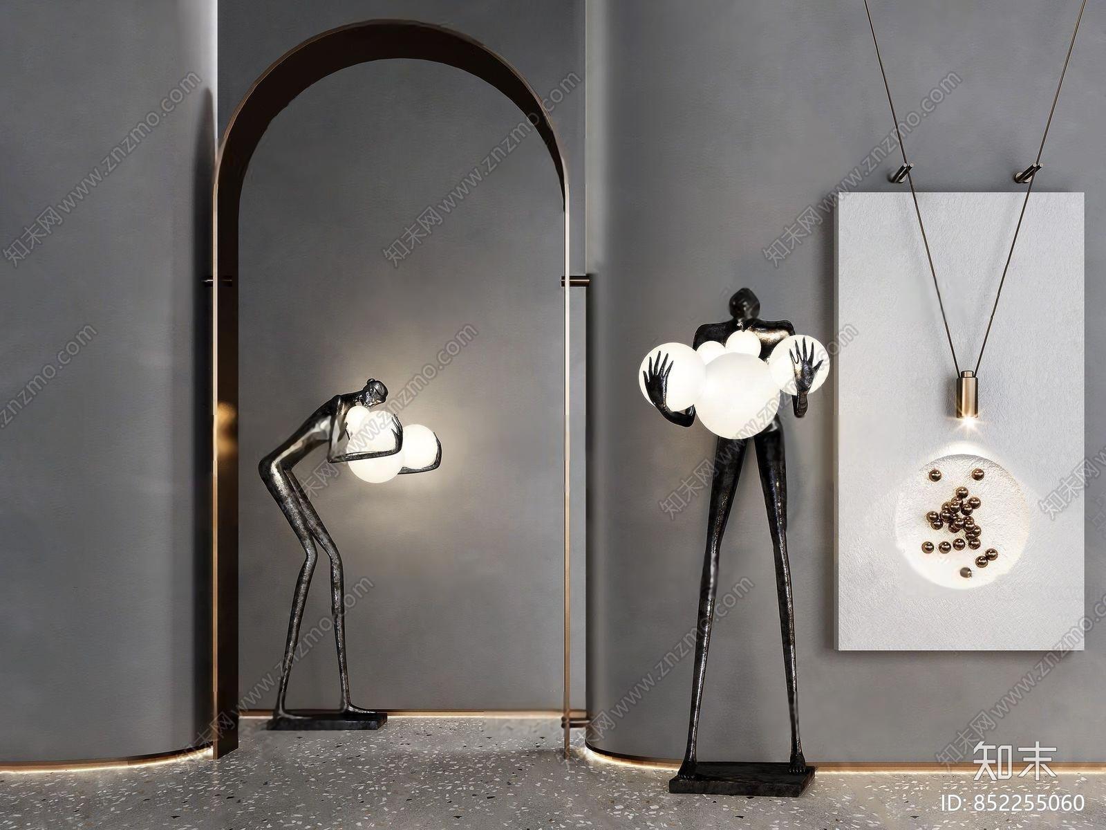 现代人物雕塑落地灯3d模型