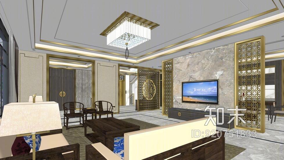 新中式复式别墅一层客厅餐厅室内设计SU模型