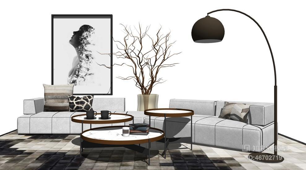 精品免费现代风格别墅客厅沙发茶几落地灯组合SU模型