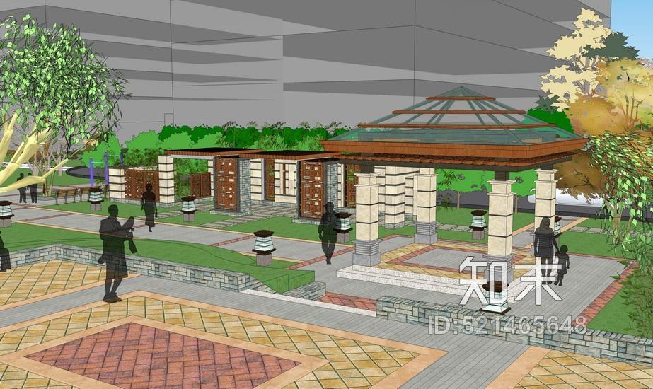 办公广场景观SU模型