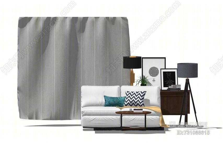 沙发装饰柜窗帘组合SU模型
