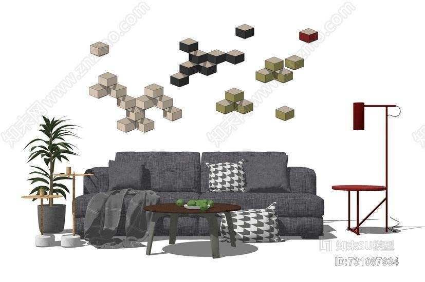现代客厅沙发茶几墙饰组合SU模型