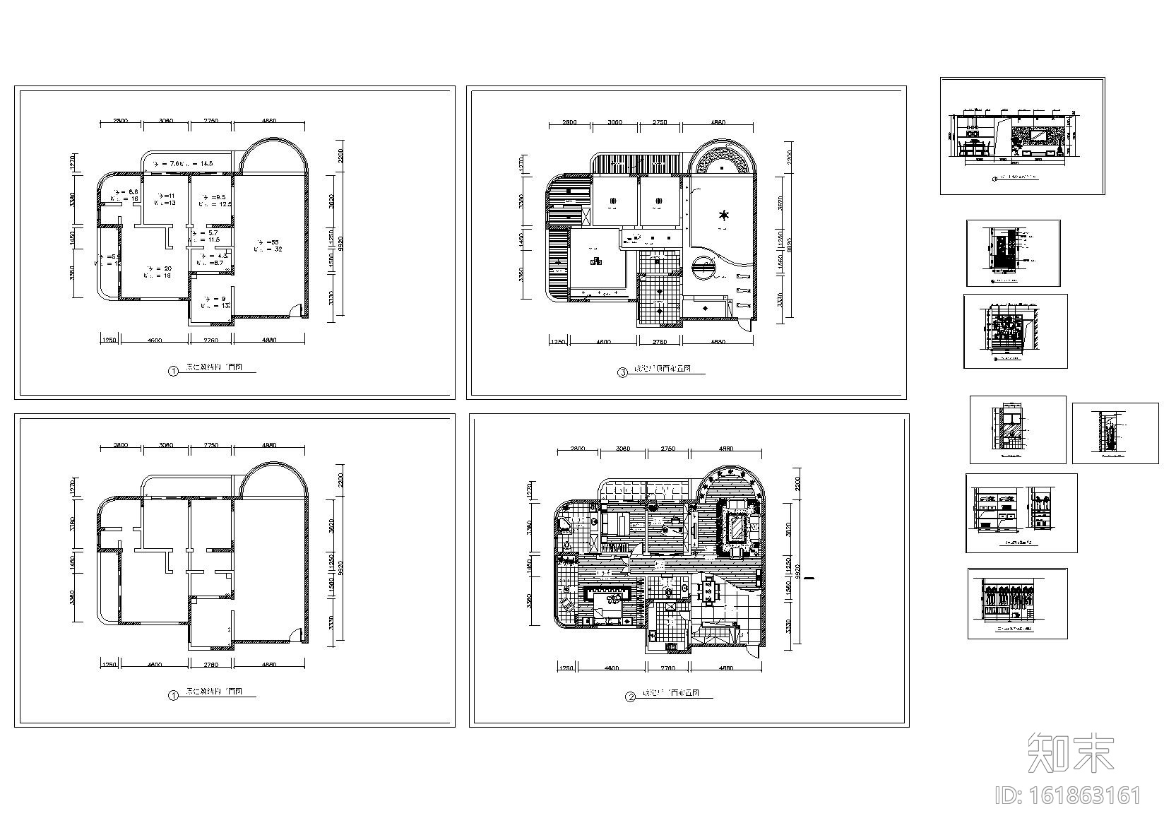 中式风格元素CAD图纸(含茶室、传统古建元素门窗、门...施工图下载【ID:161863161】