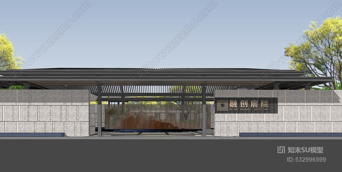 中式售楼部示范区景观SU模型