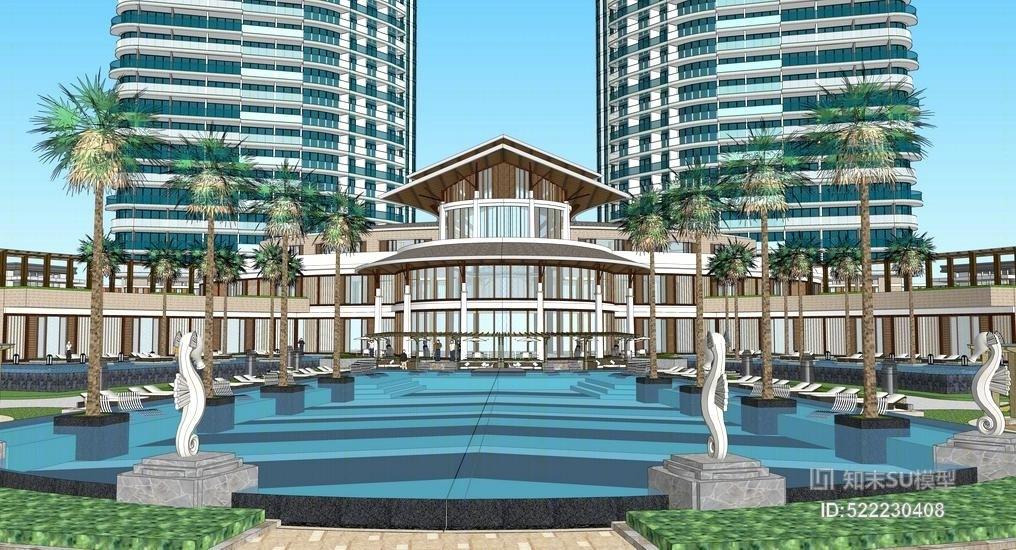 亲水湾现代高层小区景观SU模型