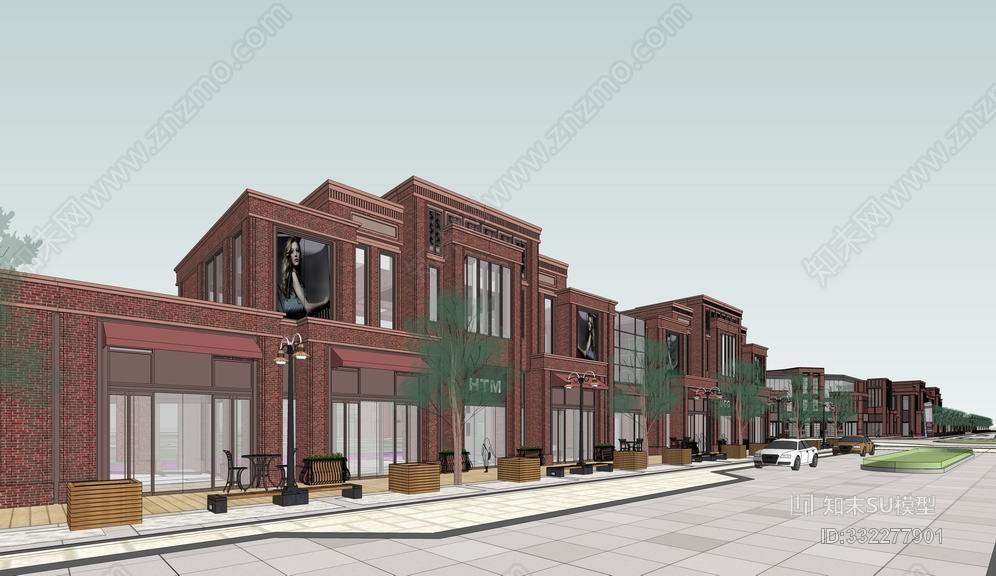 红砖商业街SU模型