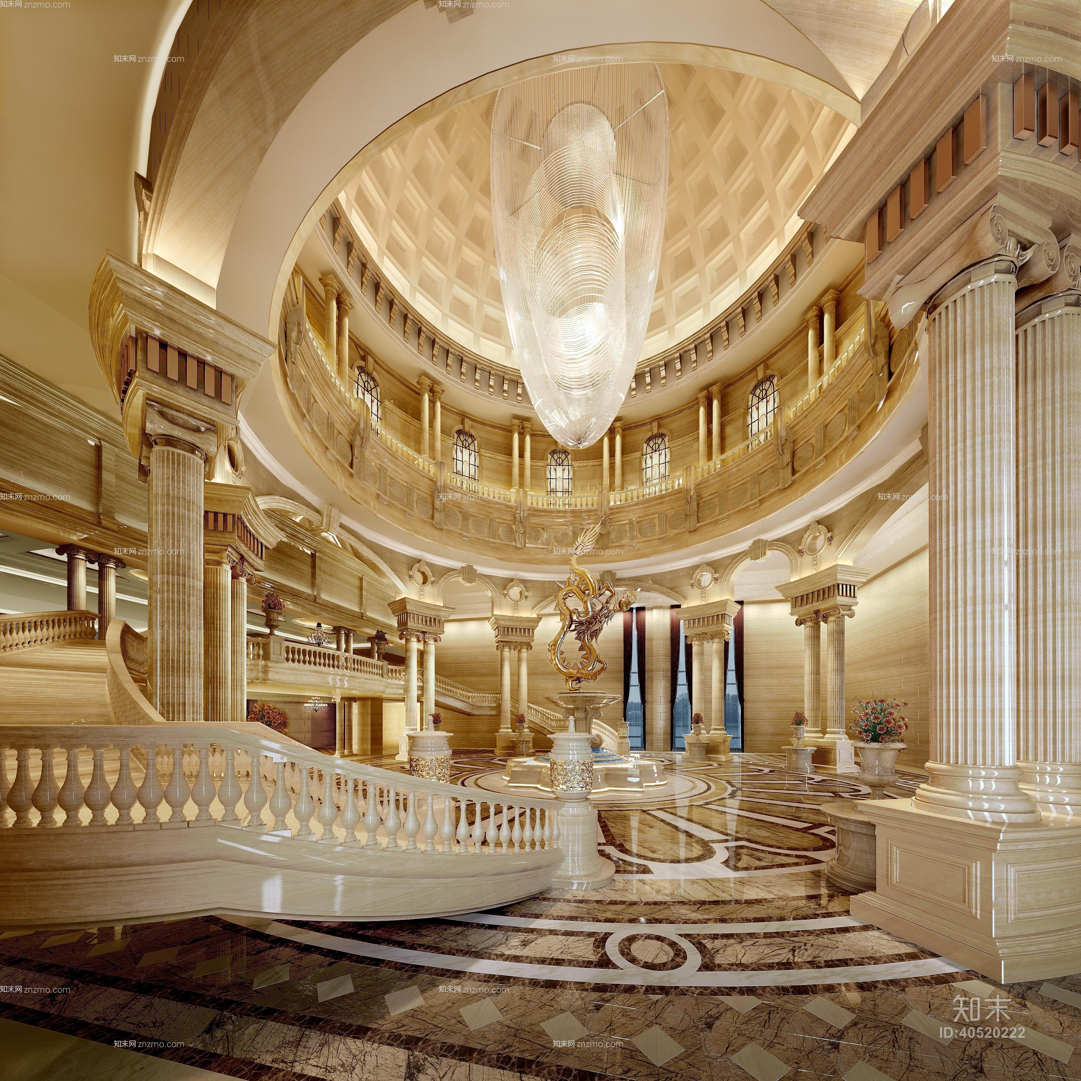 欧式古典酒店大堂 欧式古典水晶吊灯 欧式古典大理石栏杆