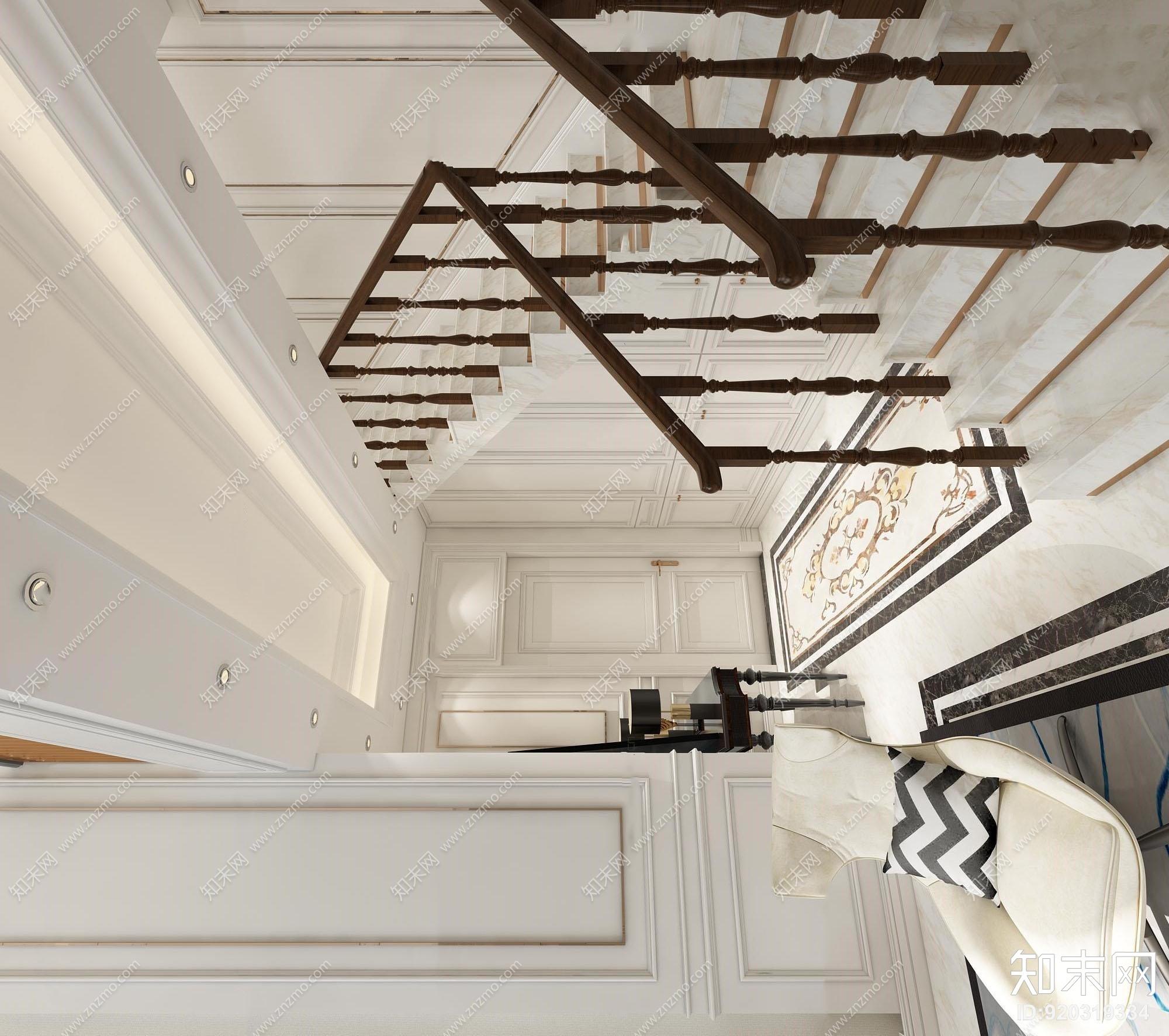 欧式复式玄关楼梯3d模型下载【id:920319334】