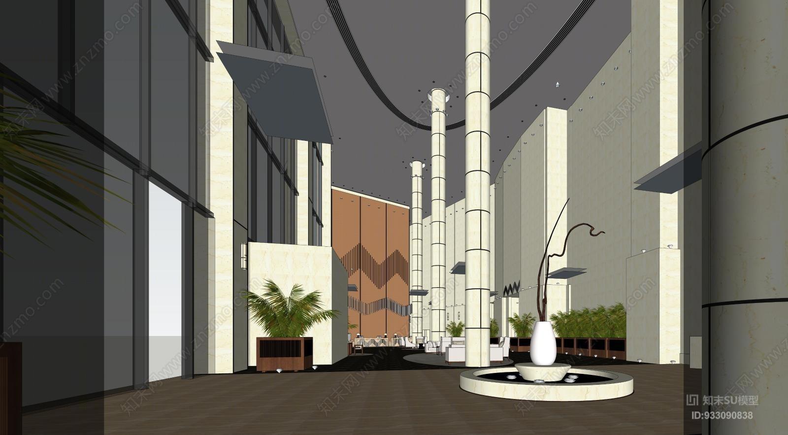 VRAY参数某五星级酒店室内大堂大厅前台休闲区沙发区入口景观