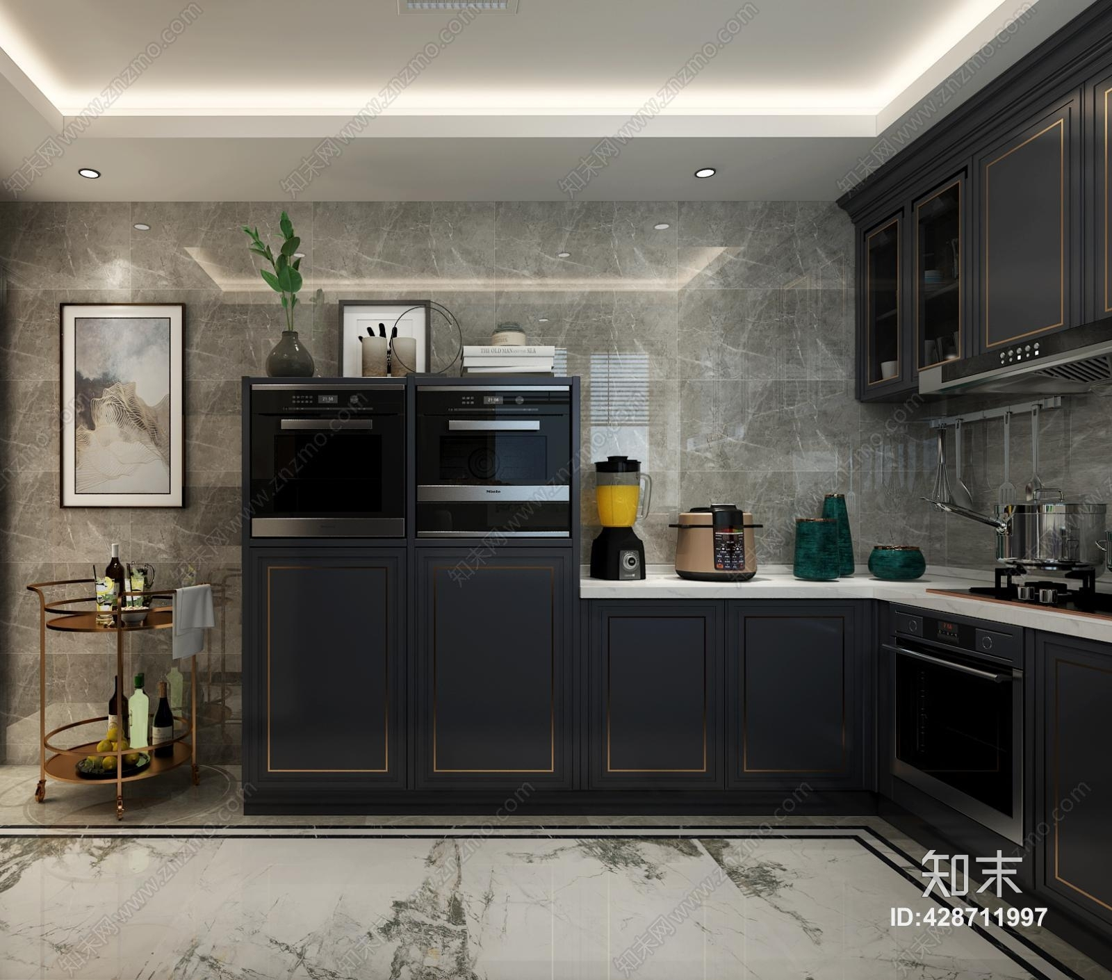餐桌椅_新中式现代新中式轻奢厨房3D模型下载【ID:428711997】_知末3d模型网