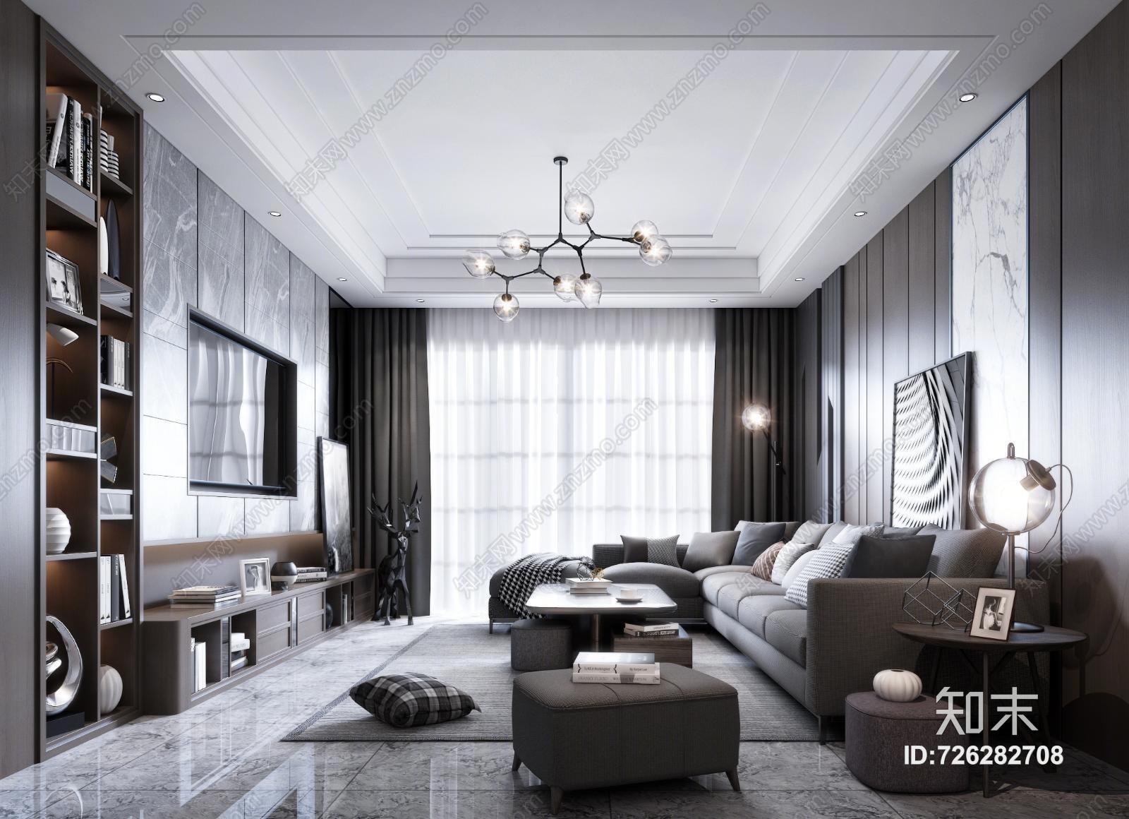 现代客厅 沙发组合 茶几 窗帘 吊灯 台灯 挂画 装饰品