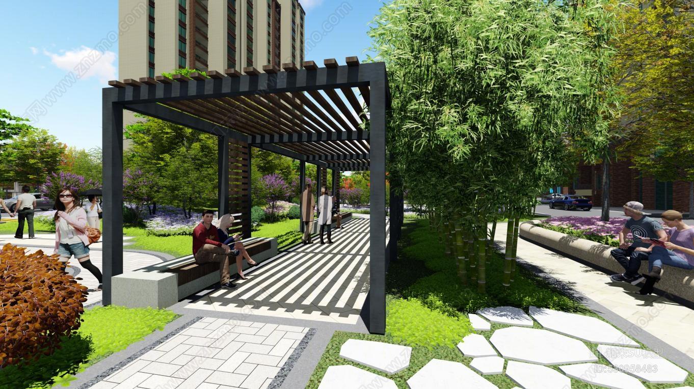 小区景观建筑模型