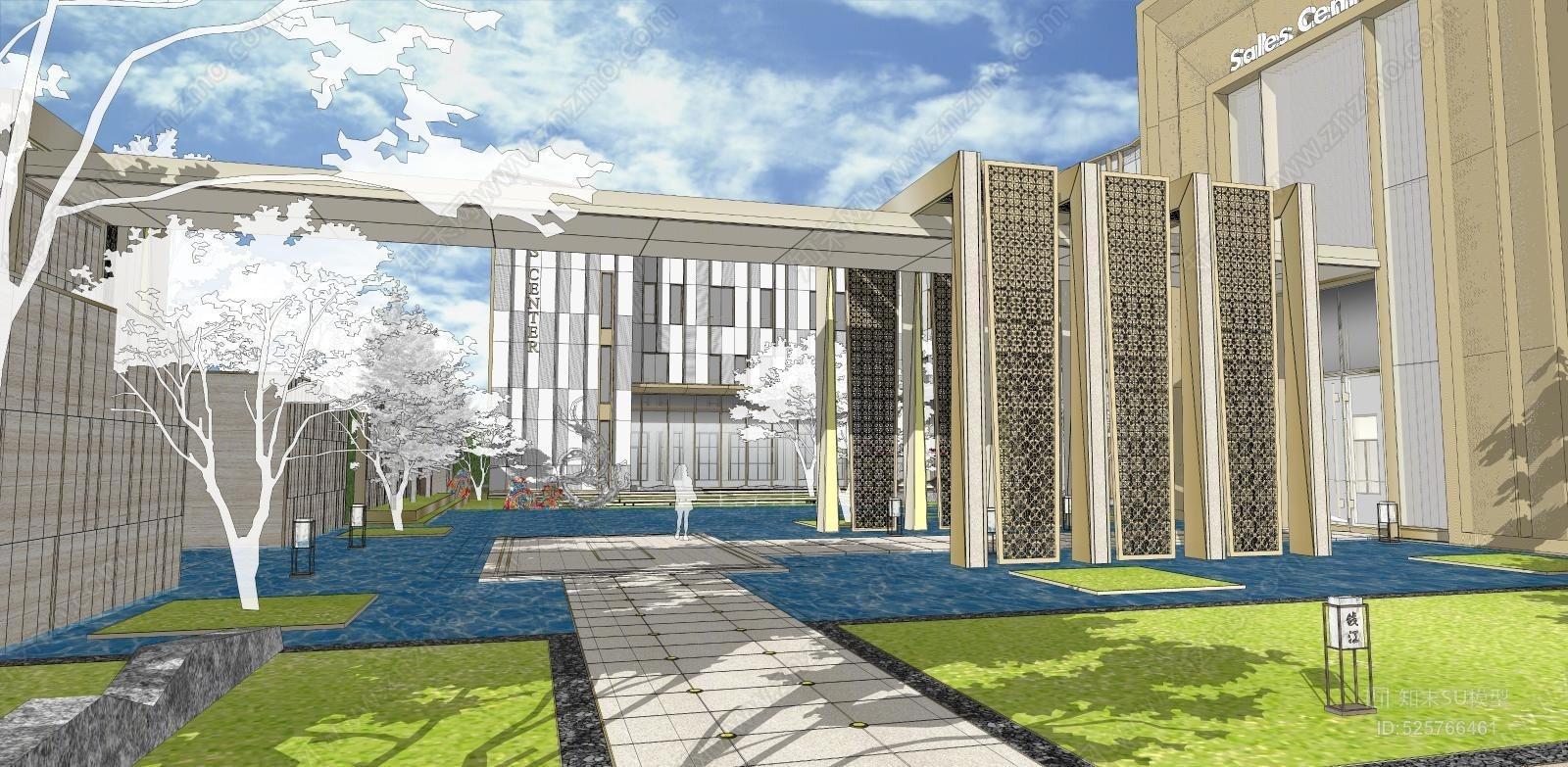 新中式售楼处入口水景 大草坪