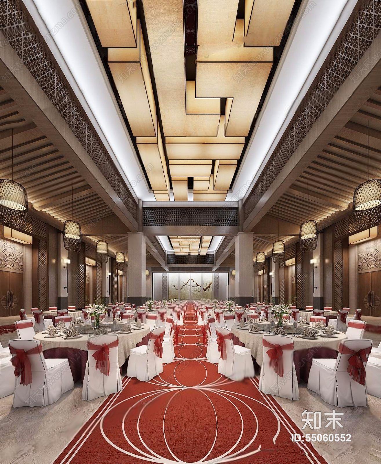 新中式宴会厅 新中式宴会厅 圆形餐桌 餐椅 吸顶灯 吊顶 背景墙